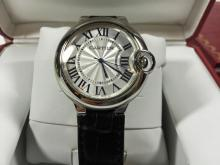 CARTIER BALLON BLEU MENS WATCH, MENS CARTIER BALLON BLEU, BLACK LEATHER STRAP. STAINLESS STEEL, AUTOMATIC, WATER RESISTANT. IN ORIGINAL BOX WITH MANUALS. REGISTRATION CARD INCLUDED, HAS NOT BEEN FILLED OUT.