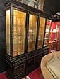 CHINOISERIE BREAKFRONT, BLACK FINISH, RAISED PAINTED FIGURAL SCENES, LIGHTED GOLD INTERIOR. GLASS SHELVES, 3 DRAWERS OVER 4 LOWER CABINETS, EXCELLENT CONDITION, APPROX 78