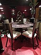 CONTEMPORARY MARBLE TOP DINING TABLE, CURVED WOOD LEGS IN DARK CHERRY FINISH, 5 STEEL BACK CHAIRS WITH BLACK FINISH METAL LEGS, WHITE UPHOLSTERED SEATS, APPROX 54