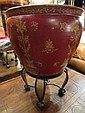 LARGE CHINESE GOLDFISH BOWL/PLANTER, RED WITH GOLD ACCENTS, ON BLACK AND GOLD STAND, APPROX 25