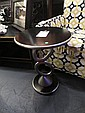 CONTEMPORARY SIDE TABLE, STACKED OVAL DESIGN, SILVER FINISH, APPROX 15