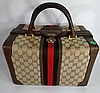 GUCCI BAG WITH LEATHER TRIM AND HANDLE, EXCELLENT CONDITION, APPROX 14