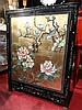 CHINESE SILVER GILT CABINET, PAINTED FLORALS AND BIRDS, 2 DOORS, APPROX 25