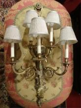 5 LIGHT GILT BRONZE ELECTRIC WALL SCONCE, ACANTHUS LEAVES AND RIBBONS, SKU57.03