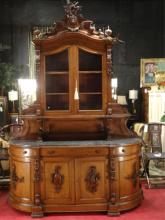 LARGE ANTIQUE FRENCH HUNT BOARD CABINET WITH CARVED GAME, FRUITS, AND BUCK HEAD, APPROX 9.5'H X 5'W,, SKU235