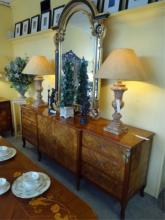 LOUIS XV STYLE MARQUETRY SIDEBOARD WITH INLAID URNS AND FLORALS. 9'W, PREVIEW AT OUR 2400 E. OAKLAND PARK BLVD SHOWROOM, FT. LAUDERDALE