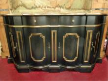NEOCLASSICAL BLACK AND GOLD CREDENZA, 2 DRAWERS ABOVE 2 DOOR LOWER CABINET, VERY GOOD GENTLY USED CONDITON, APPROX 5.5'W, SKU235.11
