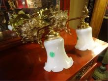 PAIR BRASS ELECTRIC WALL SCONCES, WITH WHITE GLASS SHADES, EACH APPROX 9