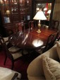 QUEEN ANNE STYLE DINING TABLE BY CRESCENT, CHERRY FINISH, INCLUDES LEAF AND 8 CHAIRS (2 ARMCHAIRS, 6 SIDE CHAIRS), WHITE UPHOLSTERED SEATS, MATCHING BUFFET AND BREAKFRONT SOLD SEPARATELY, EXCELLENT CONDITION