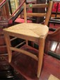 18TH CENTURY FRENCH LADDERBACK CHAIR WITH RUSH SEAT, VERY GOOD CONDITION
