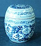 An Oriental Lidded Pot on blue and white ground