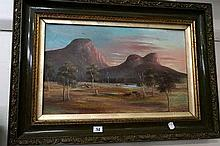 Oil painting of Australian landscape cattle scene