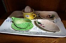 Victorian meat plate, lemons squeezer, dishes &