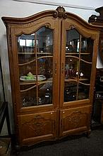 French carved oak 4 door vitrine