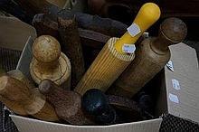 Assorted wood rolling pins, board & 2 carved