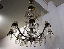 Vintage French brass & drop crystal chandelier