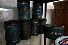 Set of 6 antique kitchen tins inc Cake, tea, split