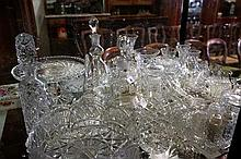 Assorted crystal vases, decanters, bell, bowls etc