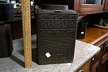 Antique Robur tea tin with crocodile skin design