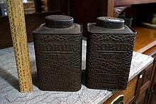 2 Robur crocodile skin design tea tins