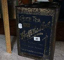 Australian Griffin Bros tea tin with blue label