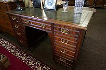 Edwardian walnut 9 drawer pedestal desk