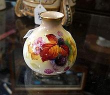 Royal Worcester hand painted blackberries vase