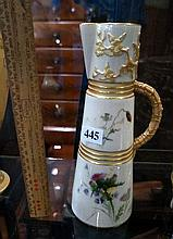 Royal Worcester hand painted floral & gilded jug