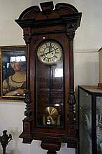 Victorian walnut twin weight Vienna wall clock