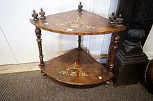 Victorian inlaid walnut 2 tier corner whatnot