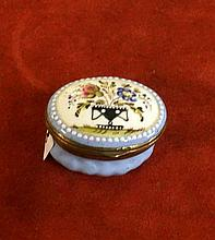 18th Century Biston enamel floral patch box