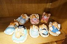 8 Pendelfin sleeping rabbit figures