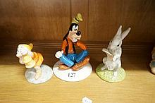 3 Royal Doulton figures, Goofy, Rabbit, & Doc with