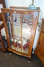 walnut single door display cabinet