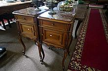 Pair French carved walnut bedside cabinets