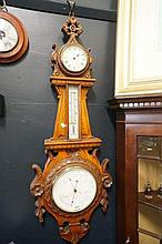 Victorian carved walnut clock barometer