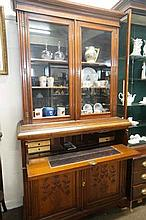 Late Victorian carved walnut secretaire bookcase
