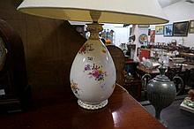 R/Crown Derby floral lamp