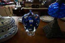 1960's art glass blue vase with original sticker