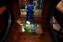 1960's blue & green art glass vase