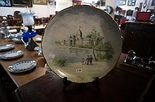 Hand painted cabinet plate of Exhibition building 1878