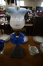 Vic blue glass cast iron based double burner kero lamp