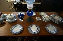 Vic blue & white dinner set for 6 plus extras inc 4 tureens & 6 meat plates