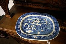 Large Early Vic willow patttern meat plate