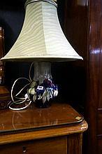 Moorcroft wisteria lamp, crack to rim