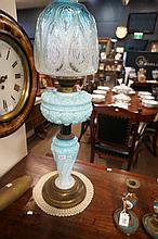 Vic blue glass banquet kero lamp with glass base & original shade