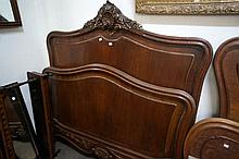 Antique French carved mah double bed & rails