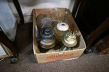 Antique kero lamps, chimneys & shades