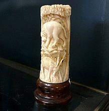 Early C20th carved & pierced ivory tusk section lamp with deer & lions