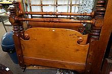 Vic Huon pine double bed with rails & slats, all birdseye Huon pine